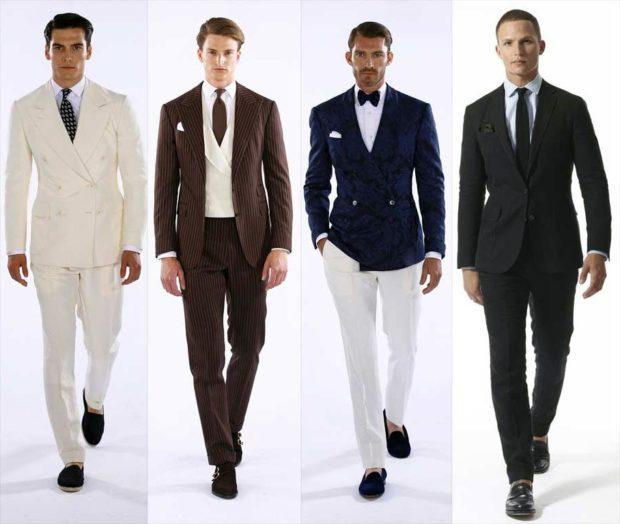 белый костюм коричневый в полоску синий пиджак белые брюки черный