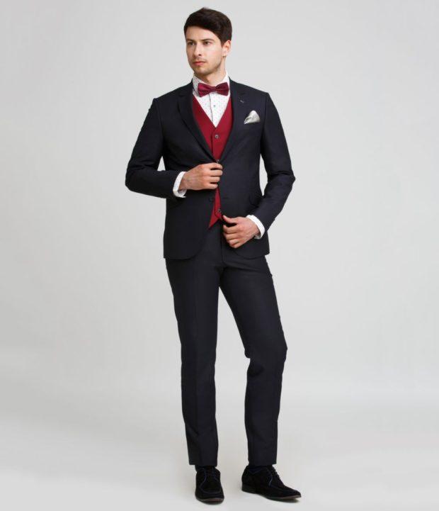 костюм на выпускной для парня 2018-2019: тройка черный жилетка красная