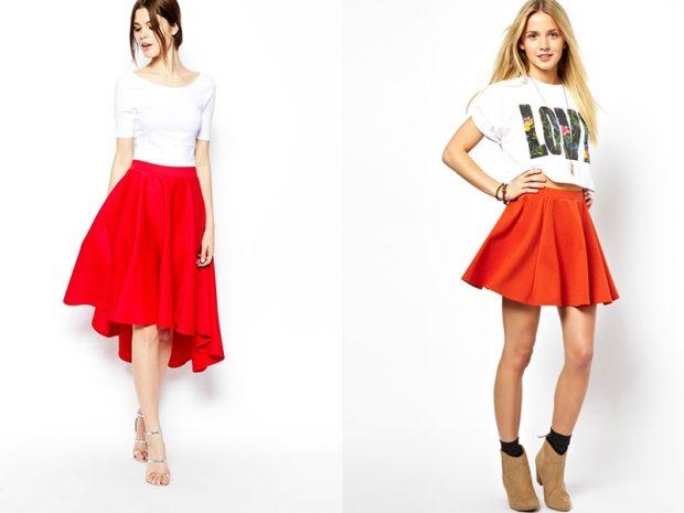 Красная юбка с чем носить: по колено под футболку