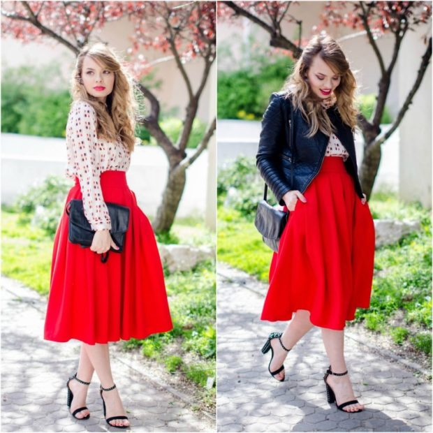 Красная юбка с чем носить: миди а силуэт под блузку под косуху