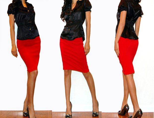 Красная юбка с чем носить: карандаш под черную блузку