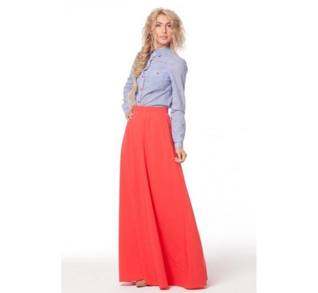 длинная юбка красная под рубашку