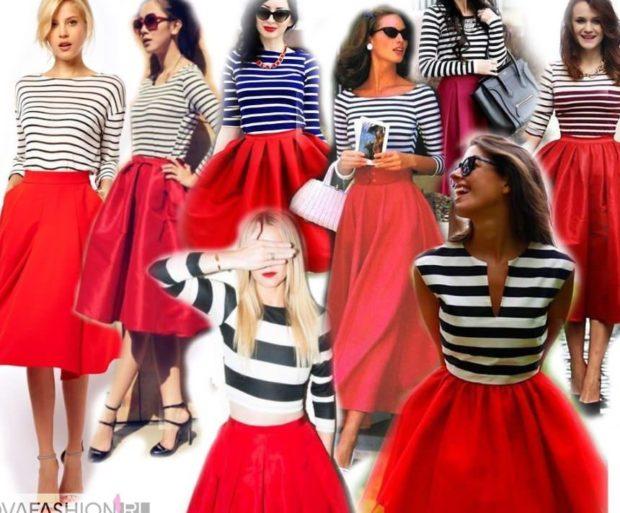 Красная юбка с чем носить: под полосатые кофты