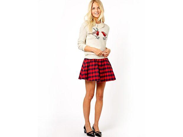 Красная юбка с чем носить: в клетку под кофту