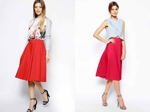 Красная юбка с чем носить: по колено под кофту