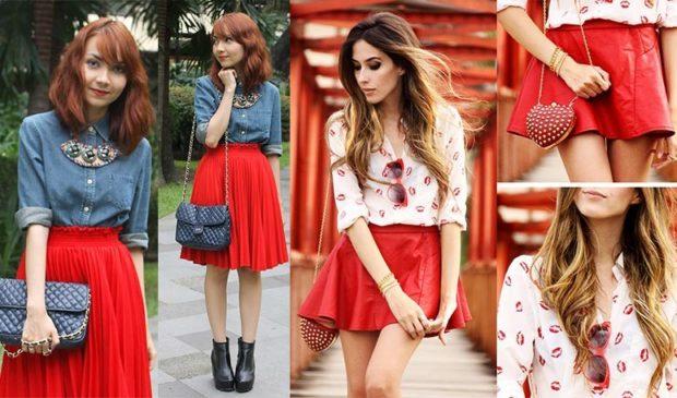 юбка красная плиса под котоновую рубашку кожаная короткая под блузку