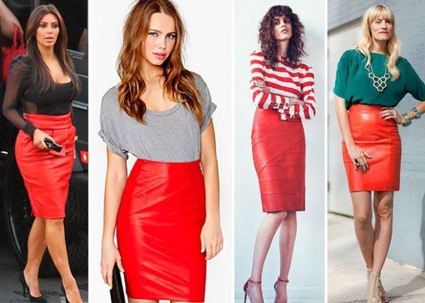 кожаные красные юбки под топы блузки кофты