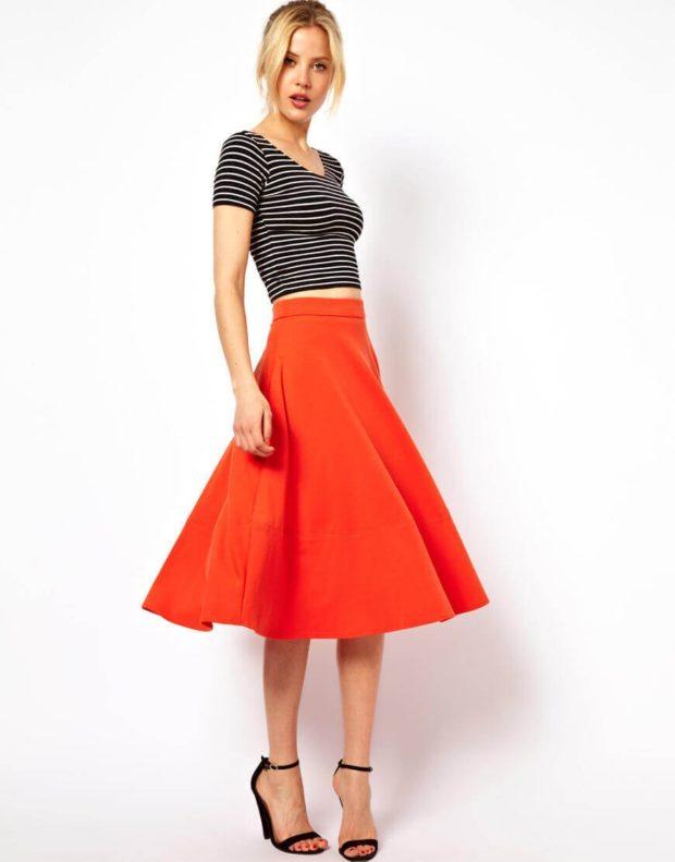 юбка солнце красная под полосатую кофту