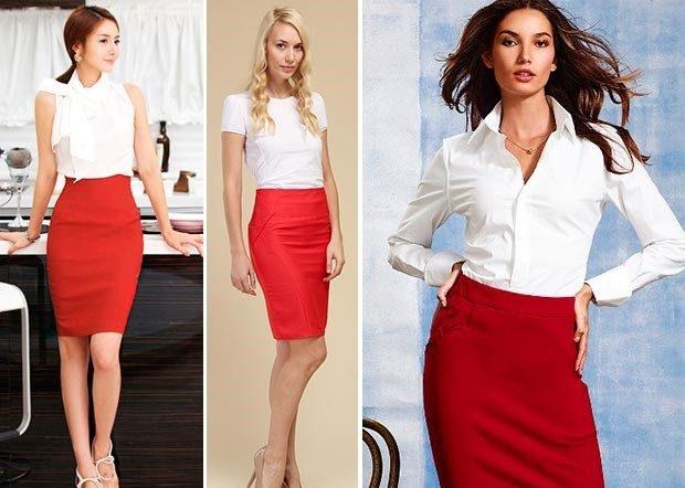 Красная юбка с чем носить: офисная под белые блузки