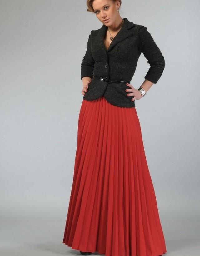 юбка макси плисе черный пиджак