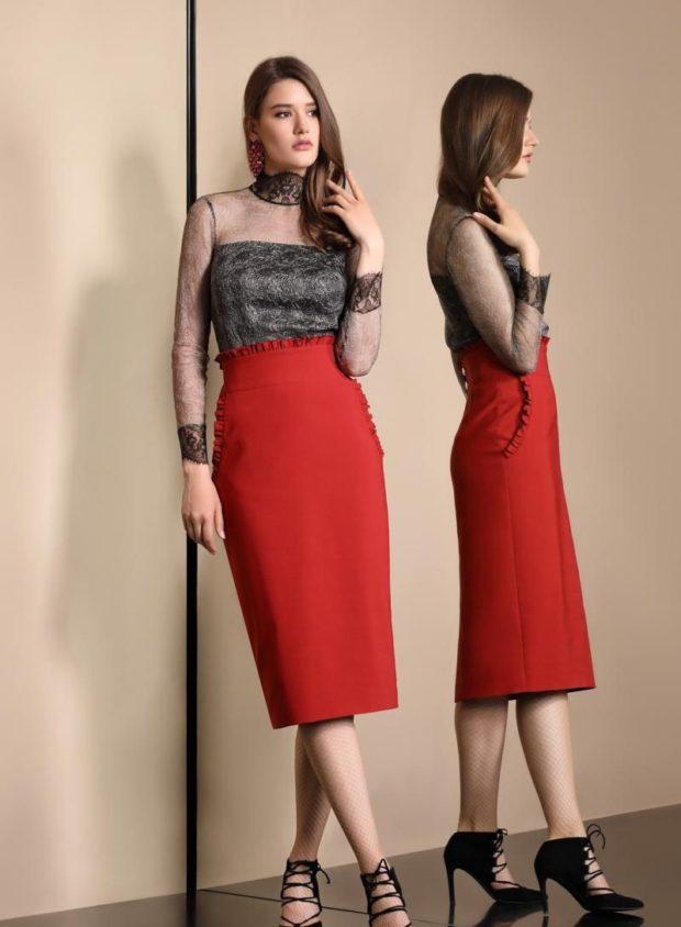 юбка карандаш красная под блузку