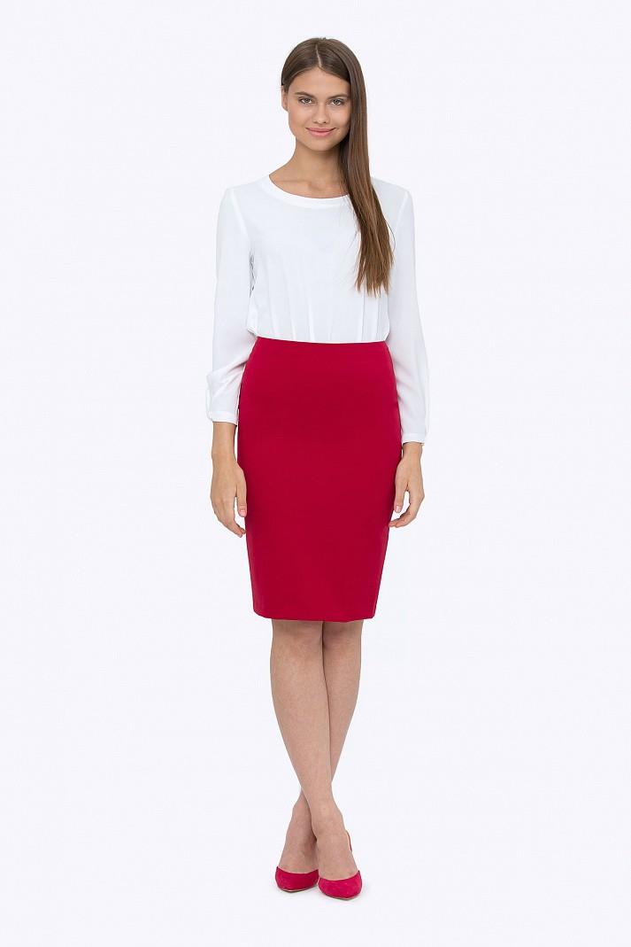 юбка карандаш красная под блузку белую