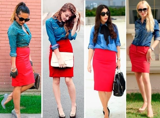 красные юбки карандаш под котоновые синие рубашки