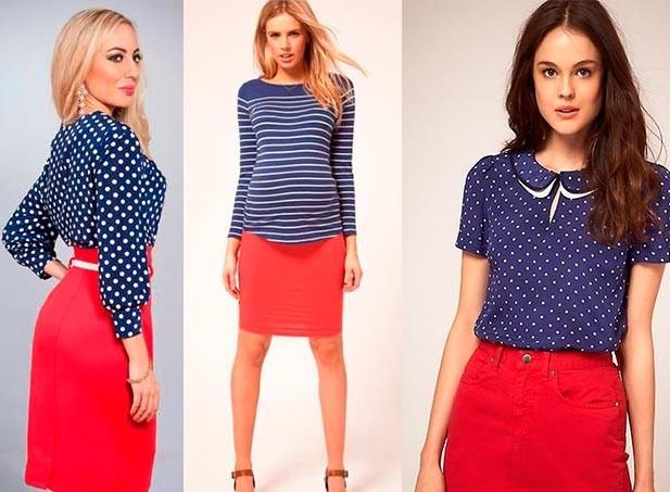 красные юбки под синие блузки кофте в горох и полоску