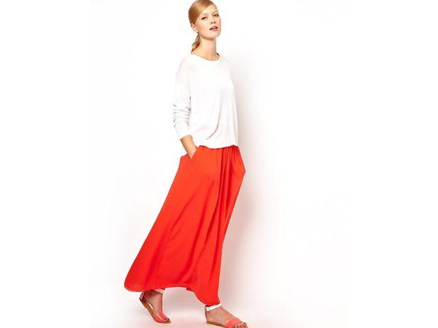 Красная юбка с чем носить: макси под белую кофту