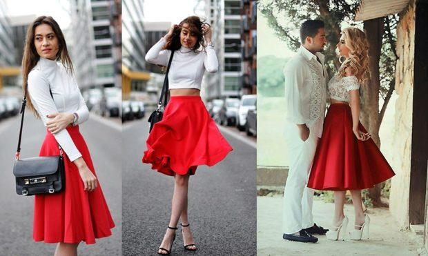 юбка солнце красная под рубашку белую под топ белый под кружевной топ