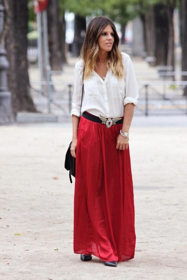 юбка красная в пол под рубашку белую