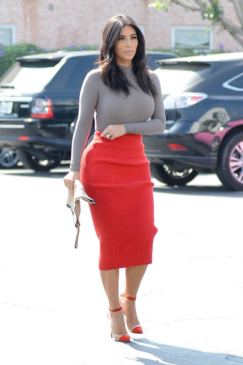 вязанная юбка красная миди под гольф