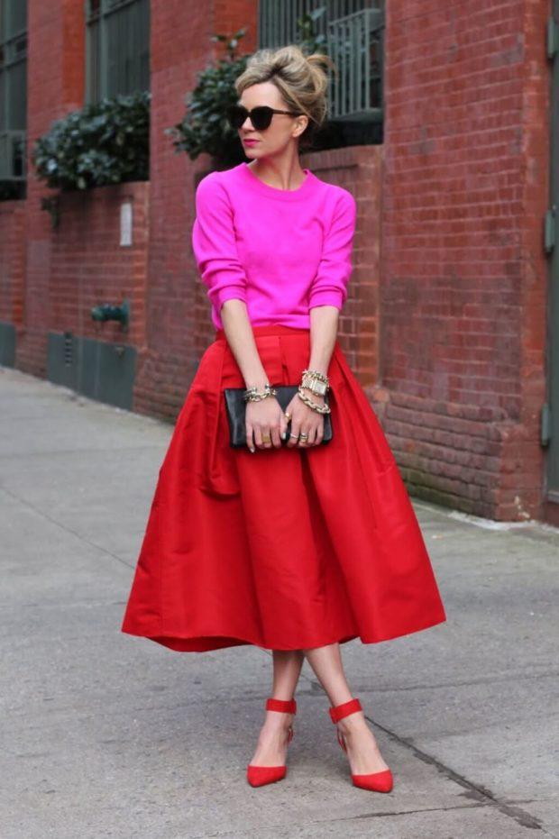 красная юбка солнце под розовую кофту