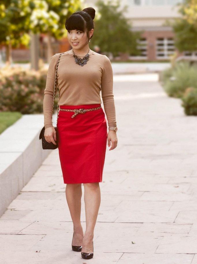 красная юбка офисная под бежевую кофточку