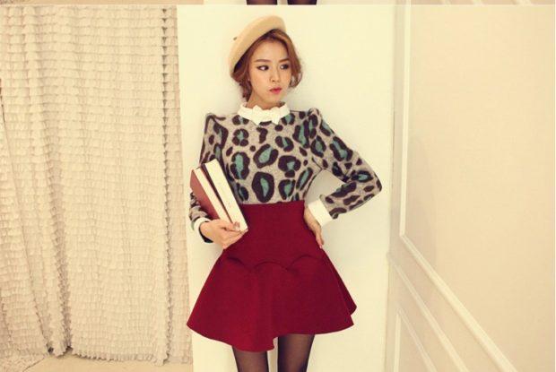 красная короткая юбка под кофту леопардовую