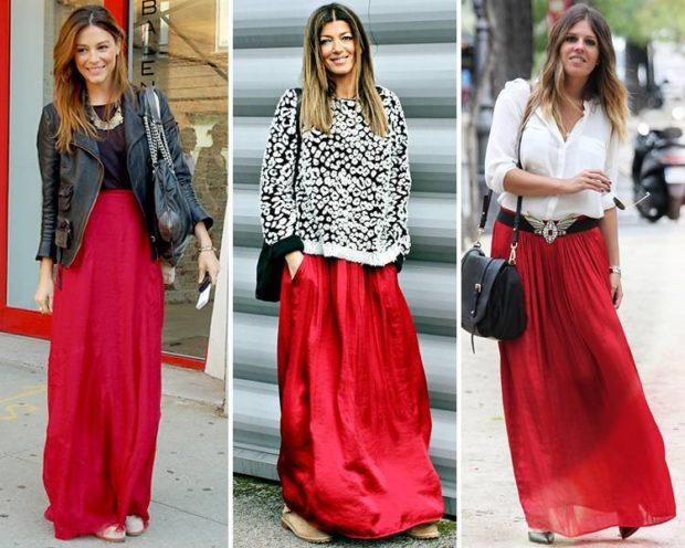 красная юбка с чем носить: длинные под косуху