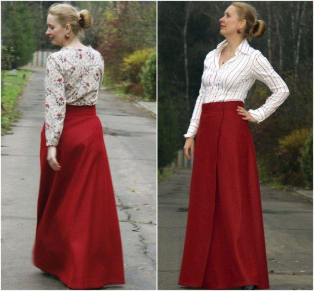 красная юбка с чем носить: длинная под блузку в принт