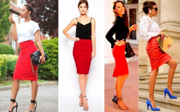 Красная юбка с чем носить: карандаш