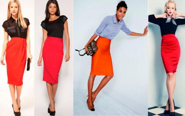 Красная юбка с чем носить: карандаш под блузки рубашк