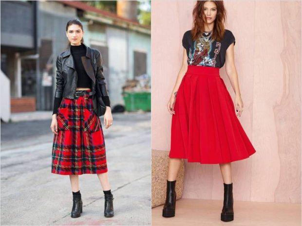 Красная юбка с чем носить: под косуху под футболку