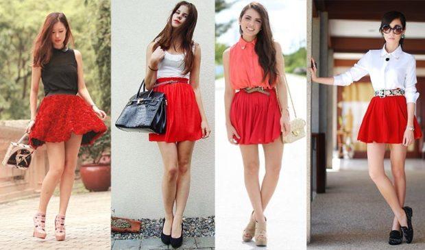 Красная юбка с чем носить: под майки черную белую розовую