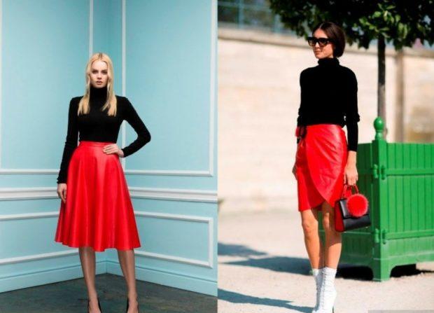 красная юбка солнце под гольф черный красная короткая под гольф