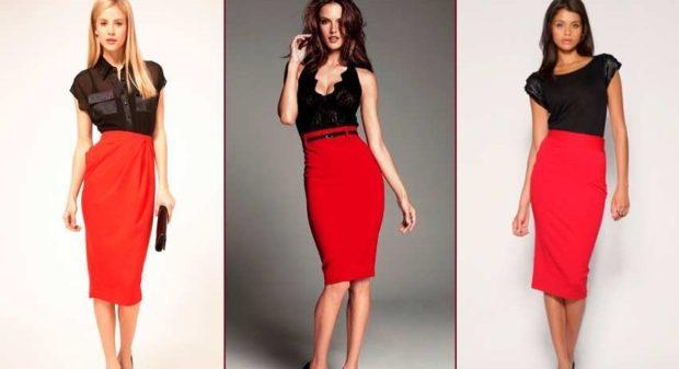 красные офисные юбки под блузки черные