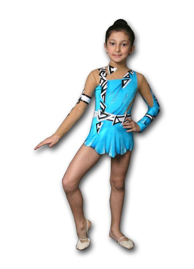 купальники для художественной гимнастики: голубой с черными рисунками