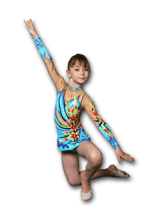 купальники для художественной гимнастики: синий с желтым цветком