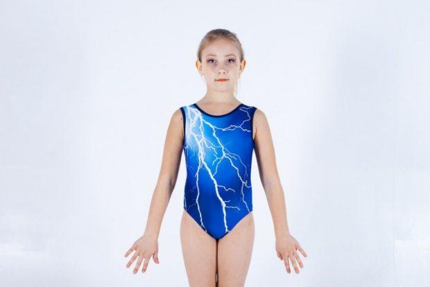 купальник художественная гимнастика 2018-2019: синий в молнию для тренировки