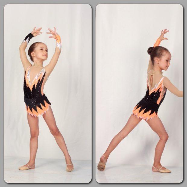 купальник художественная гимнастика 2018-2019: оранжевый с черным без рукава