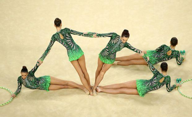 купальник художественная гимнастика 2018-2019: зеленые с узорами рукав длинный
