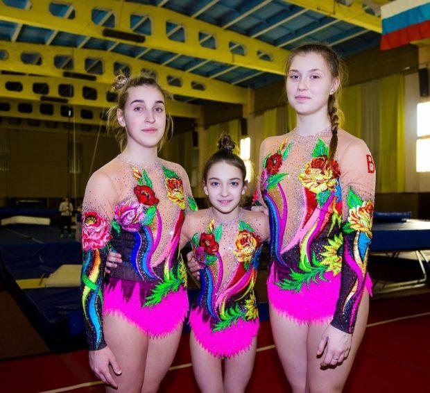 купальник художественная гимнастика 2018-2019: цветные в цветы рукав длинный