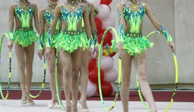 купальник художественная гимнастика 2018-2019: салатовые с зеленым рукава длинные