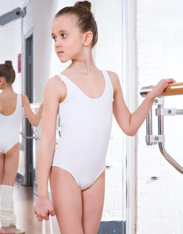 купальник художественная гимнастика 2018-2019: белый тренировочный