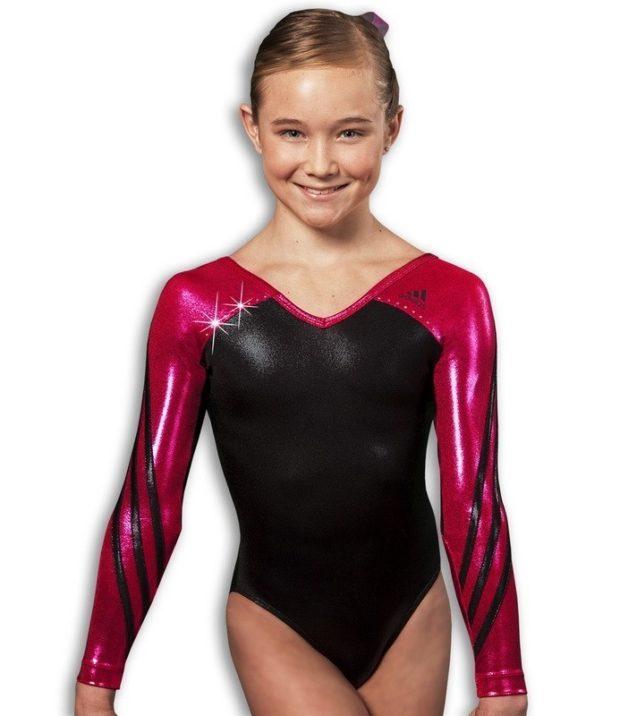 купальник художественная гимнастика 2018-2019: черный с красным рукав длинный