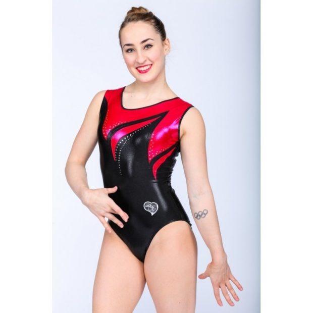 купальник художественная гимнастика 2018-2019: черно-красный без рукава