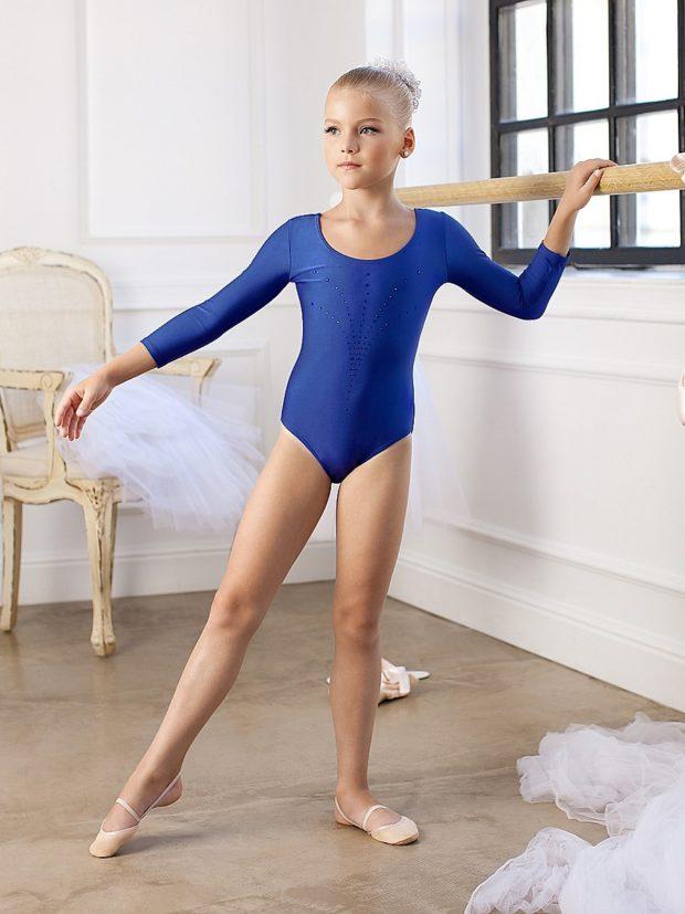 купальник художественная гимнастика 2018-2019: синий тренировочный рукав длинный