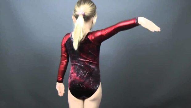 купальник художественная гимнастика 2018-2019: красный рукав длинный