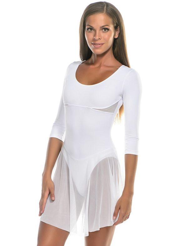 купальники для художественной гимнастики для выступлений: белый рукав длинный юбка прозрачная