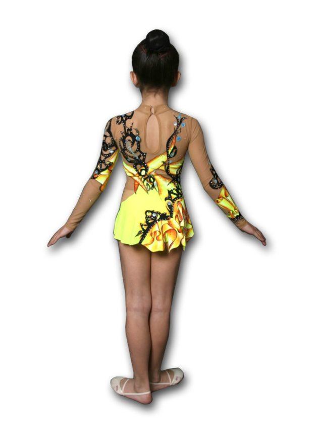 купальники для художественной гимнастики: желтый с черными разводами с длинным рукавом
