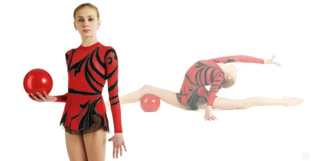 купальники для художественной гимнастики для выступлений: красный с черным рукав длинный