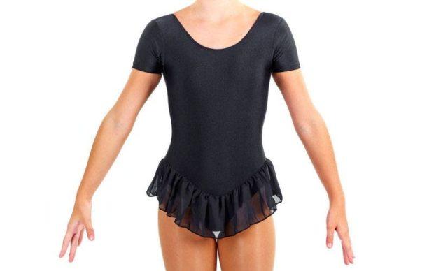купальники для художественной гимнастики для выступлений: черные с короткой юбочкой рукав короткий