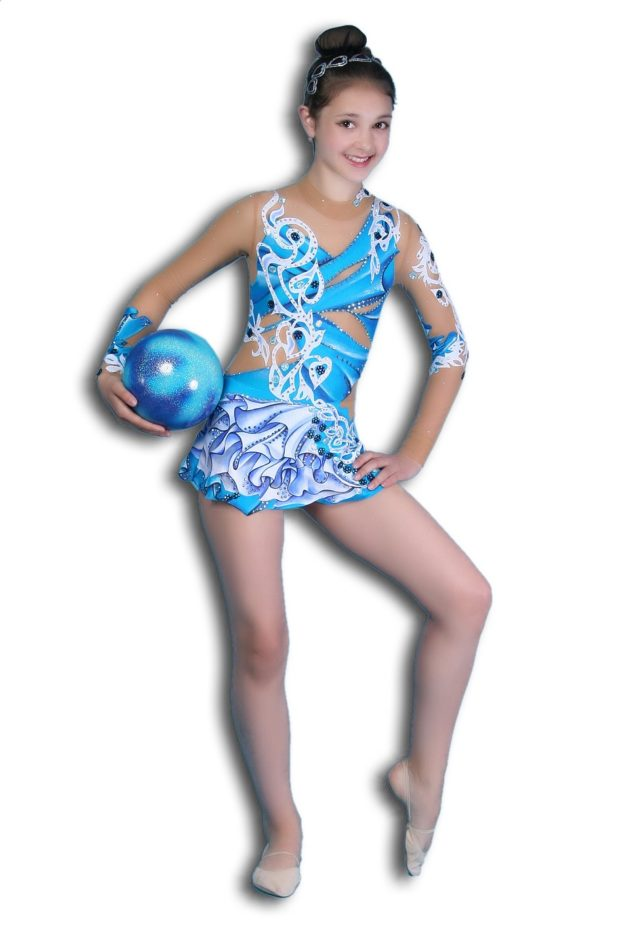 купальники для художественной гимнастики: голубой с белым рукав длинный